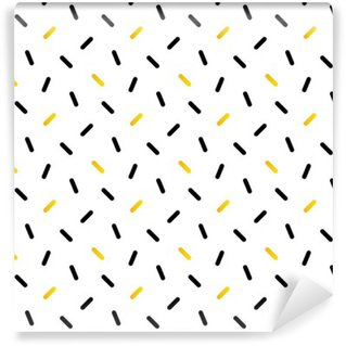 Wall Mural - Vinyl Cute black and gold confetti, geometric seamless pattern background.