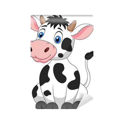 Cute cow cartoon sitting Wall Mural • Pixers® • We live to ...