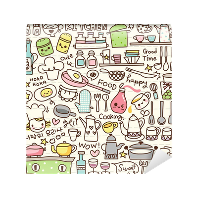 Cute doodle kitchen stuff wall mural pixers we live for Pixers your walls and stuff