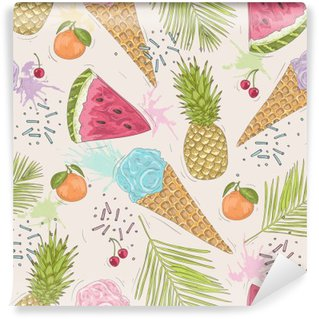 Vinyl Wall Mural Cute seamless pattern with ice creams, pineapples. Vector backgr