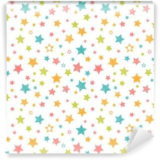 Cute seamless pattern with stars. Stylish print with hand drawn Wall Mural - Vinyl