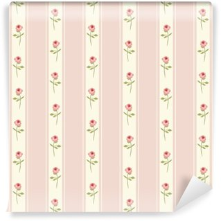 Cute seamless Shabby Chic pattern with roses and polka dots ideal for kitchen textile or bed linen fabric, curtains or interior wallpaper design, can be used for scrap booking paper etc Wall Mural - Vinyl