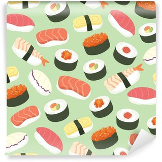Wall Mural - Vinyl Cute Sushi background seamless pattern