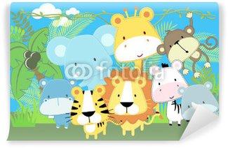 cute vector baby jungle animals Wall Mural - Vinyl