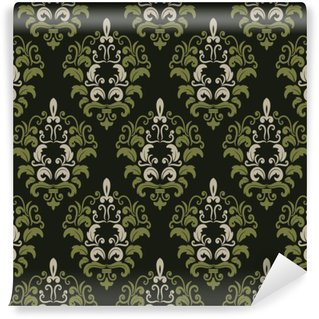 Wall Mural - Vinyl Damask seamless pattern background.