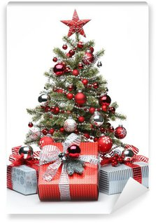 Wall Mural - Vinyl Decorated Christmas tree and gifts