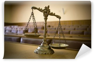 Wall Mural - Vinyl Decorative Scales of Justice in the Courtroom