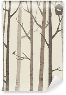 decorative silhouettes of trees with a bird and birdhouse Wall Mural - Vinyl
