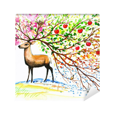 Deer four seasons wall mural pixers we live to change for 4 seasons mural