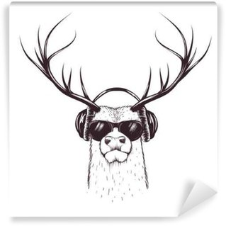 deer in music headphones Wall Mural - Vinyl