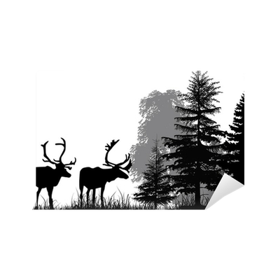 deer silhouettes in forest isolated on white background ...