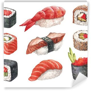 Delicious sushi. Watercollor illustrations