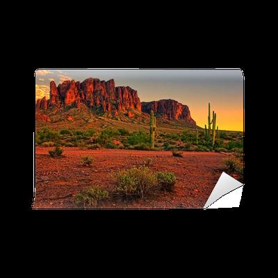 Desert sunset with mountain near phoenix arizona usa for Desert wall mural