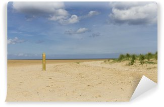 Wall Mural - Vinyl Deserted Beach with solitary wooden post