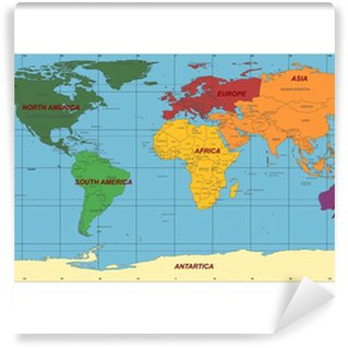 Detailed World Map With Names Of Continent And Countries Vector - World map showing continents and countries