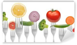 Wall Mural - Vinyl diet concept.vegetables and fruits on the collection of forks