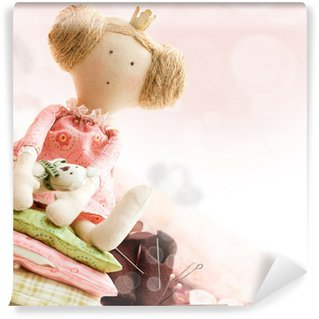 Wall Mural - Vinyl Doll princess and textile and sewing accessory