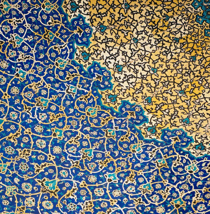 Dome of the mosque oriental ornaments from isfahan iran for Tapete orientalisch