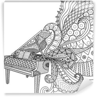 Doodles design of piano for coloring book for adult and design element - stock vector Wall Mural - Vinyl