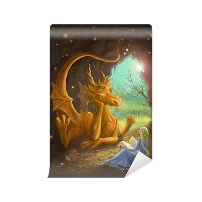Dragon And Princess Reading A Book Wall Mural Pixers