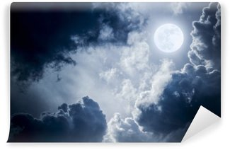 Dramatic Nighttime Clouds and Sky With Beautiful Full Blue Moon Wall Mural - Vinyl