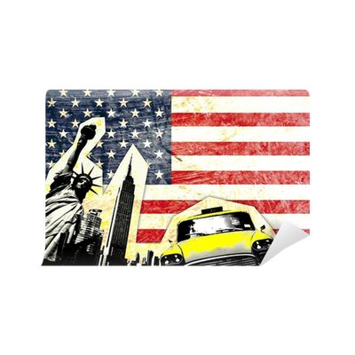 drapeau am ricain avec statue de la libert taxi jaune wall mural pixers we live to change. Black Bedroom Furniture Sets. Home Design Ideas