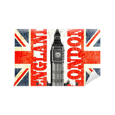 drapeau anglais coup avec crit london england et big ben wall mural pixers we live to change. Black Bedroom Furniture Sets. Home Design Ideas