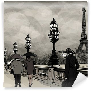 Wall Mural - Vinyl Drawing of Alexander III bridge in Paris showing Eiffel tower