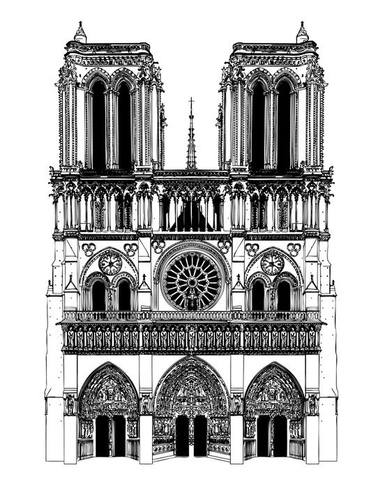 Wall Mural   Vinyl Drawing Of Notre Dame   Entertainment Part 19