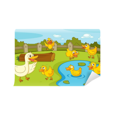 Ducks at the pond wall mural pixers we live to change for Duck pond mural