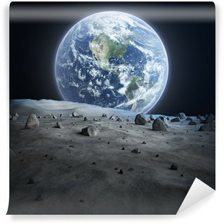 Earth seen from the moon. Wall Mural - Vinyl