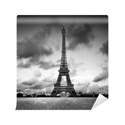 Effel tower paris france black and white vintage wall for Black and white paris wall mural