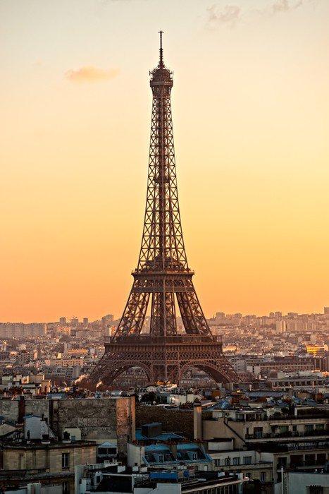 Wall Mural   Vinyl Eiffel Tower At Sunset Paris.   European Cities