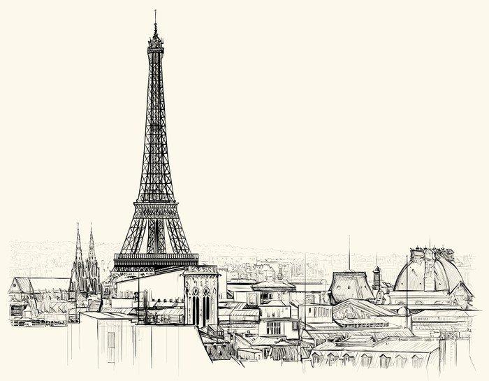 Wall Mural   Vinyl Eiffel Tower Over Roofs Of Paris   European Cities