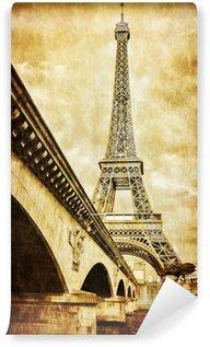 Wall Mural - Vinyl Eiffel tower vintage retro view from Seine river, Paris