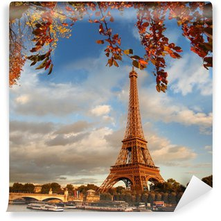 Wall Mural - Vinyl Eiffel Tower with autumn leaves in Paris, France