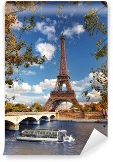 Wall Mural - Vinyl Eiffel Tower with boat on Seine in Paris, France