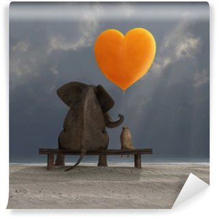 Wall Mural - Vinyl elephant and dog holding a heart shaped balloon