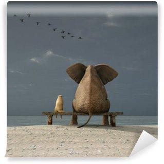 Wall Mural - Vinyl elephant and dog sit on a beach