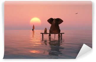 Wall Mural - Vinyl elephant and dog sitting in the middle of the sea