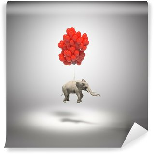 Wall Mural - Vinyl Elephant with balloons