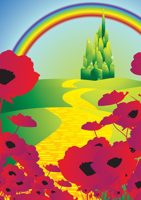 Emerald city and poppies and rainbow wall mural vinyl for Emerald city wall mural