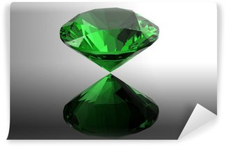 Wall Mural - Vinyl emerald. Jewelry gems roung shape on black background