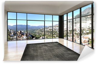 Wall Mural - Vinyl Empty room interior with floor to ceiling windows and scenic vie