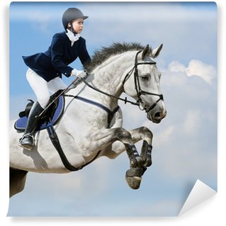Equestrian jumper - young girl jumping with dapple-grey horse Wall Mural - Vinyl