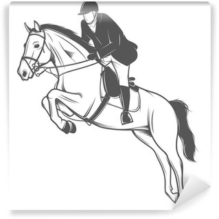 Equestrian sport, jockey on a jumping horse Wall Mural - Vinyl