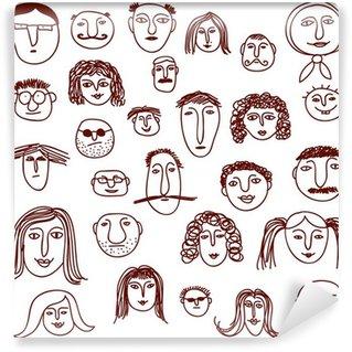 Wall Mural - Vinyl Faces doodles