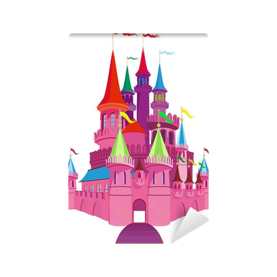 Fairy tale pink castle wall mural pixers we live to for Fairy castle wall mural