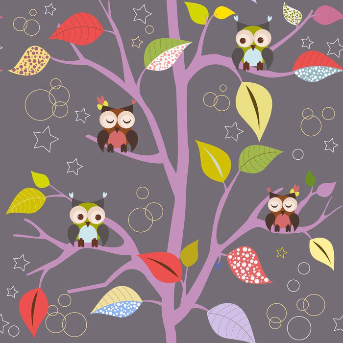 Fairytale tree with owls Wall Mural