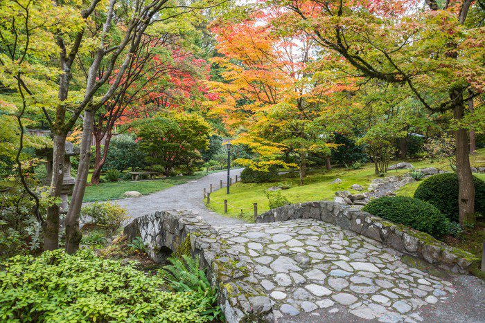 wall mural vinyl fall foliage stone bridge japanese garden themes